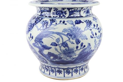 RZSC10 Hand painted fish tank with flower and bird pattern with high imitation ancient blue and white porcelain ware