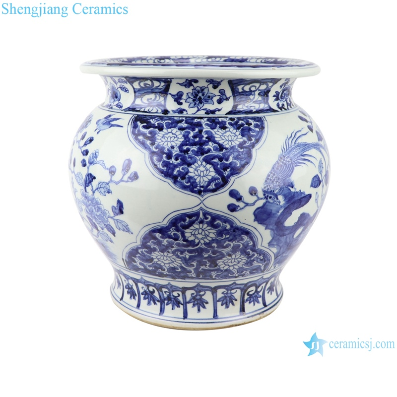 Hand painted fish tank with flower and bird pattern with high imitation ancient blue and white porcelain ware