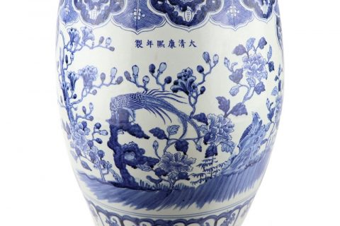 RZSC11 Large blue and white porcelain drum stool with hand painted flowers and birds