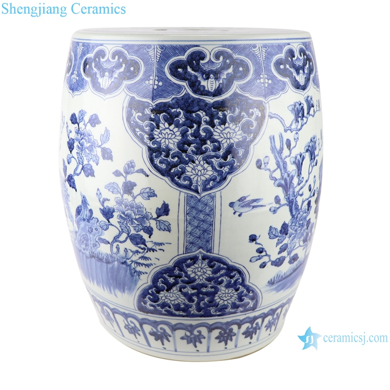 Large blue and white porcelain drum stool with hand painted flowers and birds