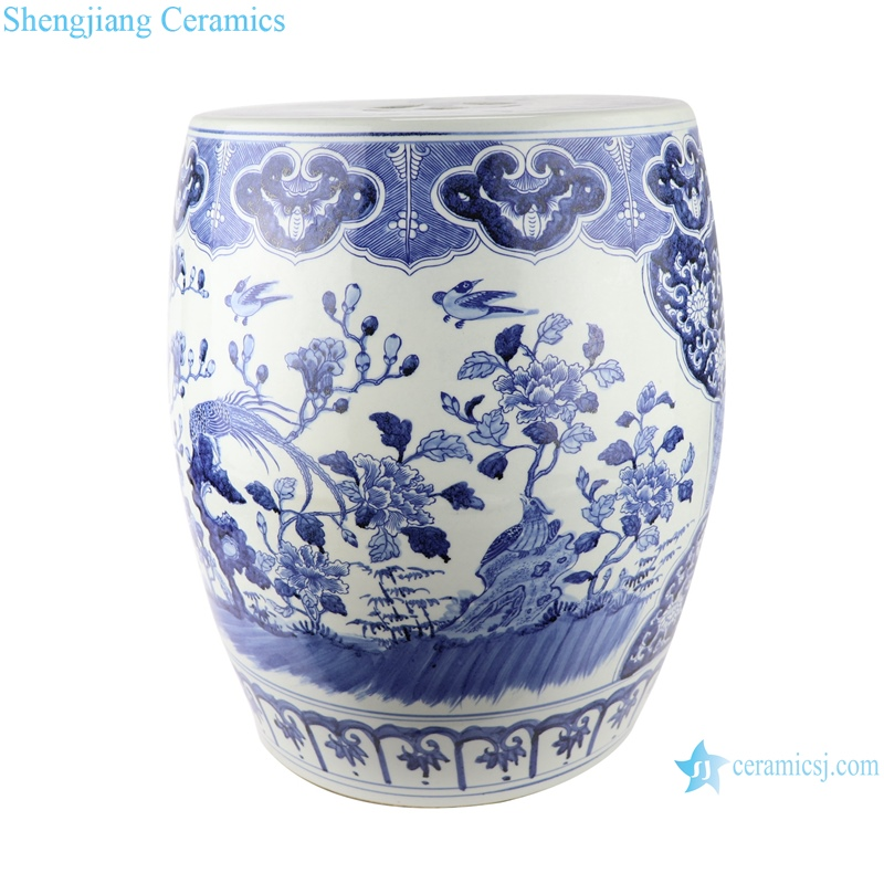 chinese blue and white porcelain drum stool with hand painted flowers and birds