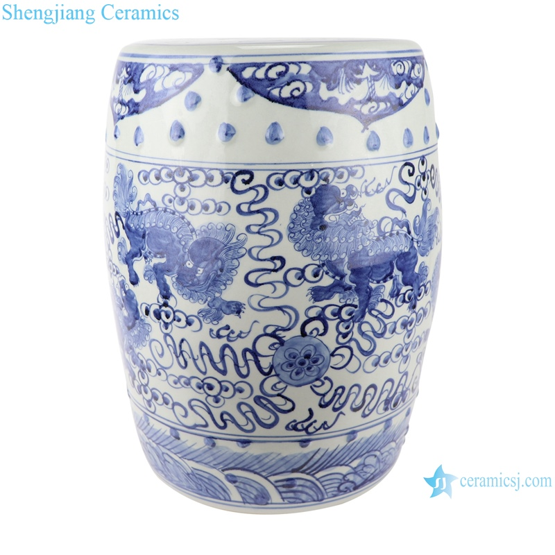 RZSC12 Antique blue and white hand-painted figures ceramic drum stool