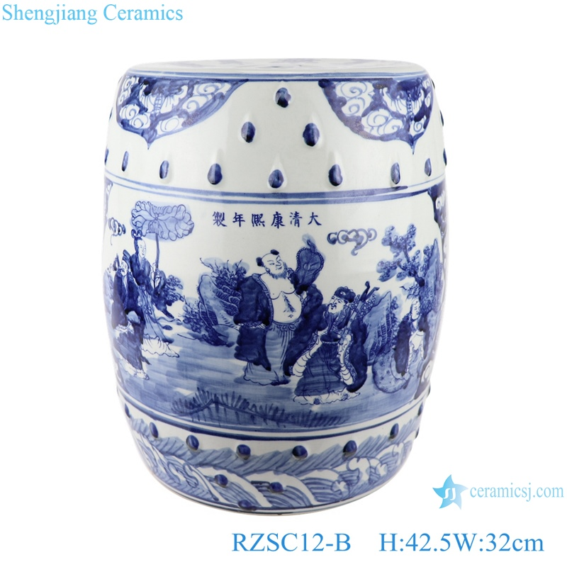 blue and white hand-painted figures ceramic drum stool