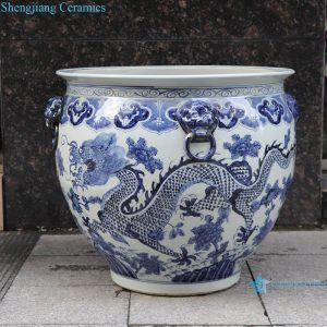 RZSC13-A/B Hand painted fish tank with double ears and hand painted dragon pattern