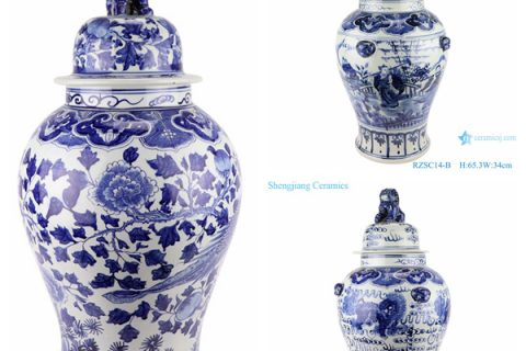 RZSC14-A/B/C Blue and white porcelain general jar with hand drawn figures in Chinese style