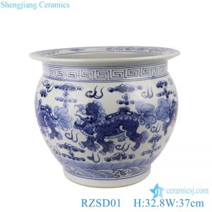 RZSD01 Chinese handmade blue and white dragon design ceramic tank