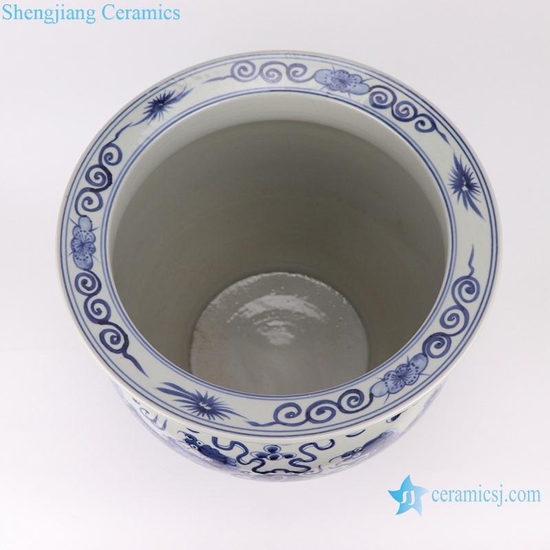 RZSD01 Chinese handmade blue and white dragon design ceramic tank