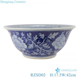 RZSD02 Chinese handmade blue and white flower design ceramic bowl