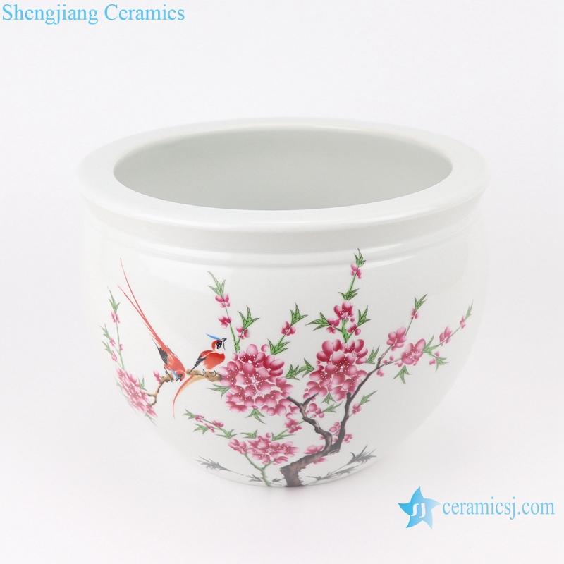 RZSF01 Chinese white flower and bird ceramic pot peach blossom pattern