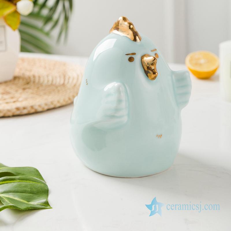 RZSH02 Shadow blue glaze gilded sculpture chicken and bird ceramic decoration figurine
