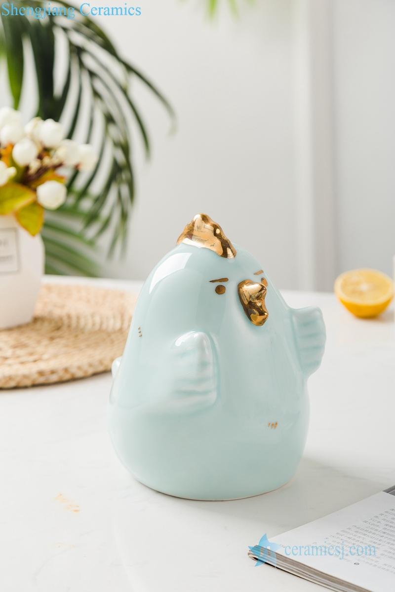 Shadow blue glaze gilded sculpture chicken and bird ceramic decoration figurine