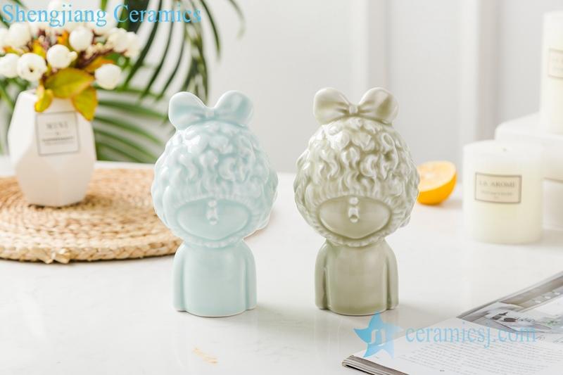 3 Color glaze shadow blue glaze sculpture dream girl ceramic decoration figurine