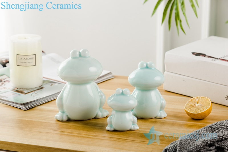 RZSH04 Three pieces of green glaze frog sculpture ceramic decoration figurine