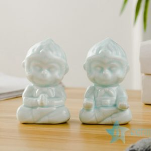RZSH05 A pair of little monkeys ceramic decoration figurine