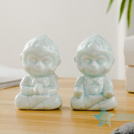 RZSH05 A pair of little monkeys ceramic decoration figurine
