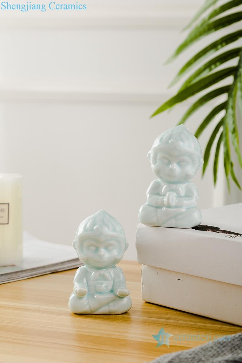 A pair of little monkeys ceramic decoration figurine