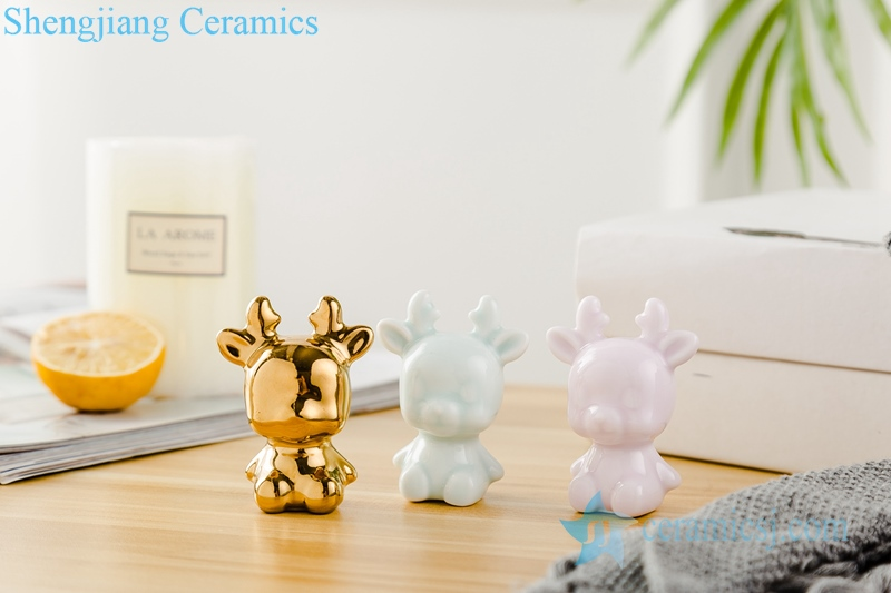 Three piece set of shadow blue glaze gold-plated pink sheep