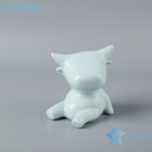 RZSH08 Shadow blue glaze sculpture sitting on the ground ceramic decoration figurine
