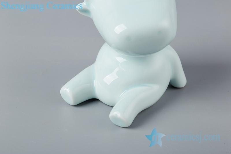 blue glaze sculpture sitting on the ground ceramic decoration figurine