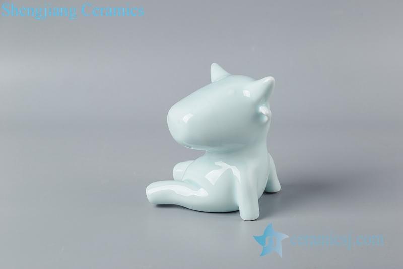 Shadow blue glaze sculpture sitting on the ground ceramic decoration figurine