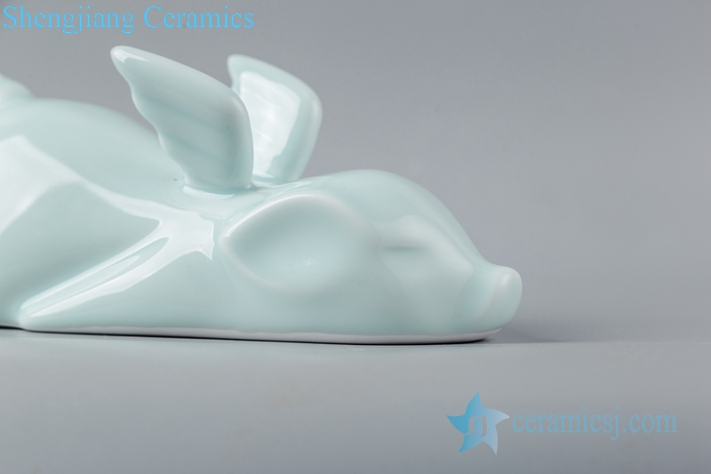 Shadow blue glaze sculpture flying pig ceramic decoration figurine