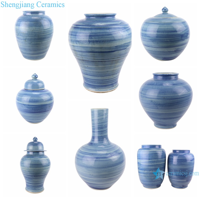 Blue and white striped vases and jars
