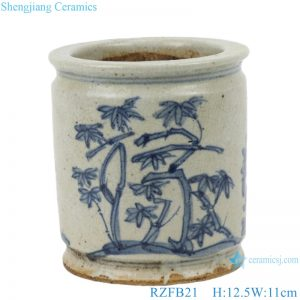 RZFB21 Chinese blue and white pen holder vase ceramic