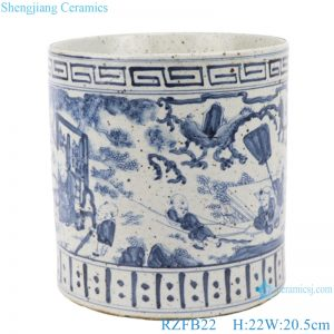 RZFB22 Chinese handmade blue and white old style antique vase Porcelain flower planter pot