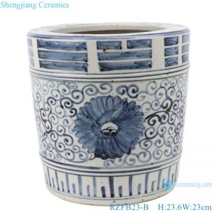 RZFB23-B Ceramic Blue and White Large Floor Vases for Home Decor
