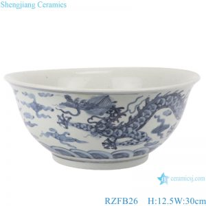 RZFB26 Blue and white old style antique ceramic bowl