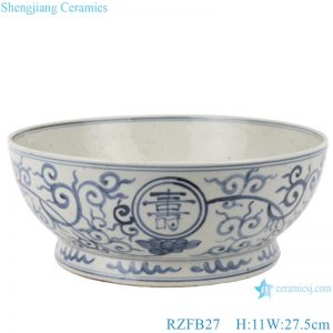 RZFB27 Blue and white flowers with long life character old style antique ceramic bowl