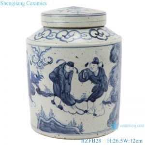RZFB2 8_Chinese handmade blue and white old style antique jar decorations for home
