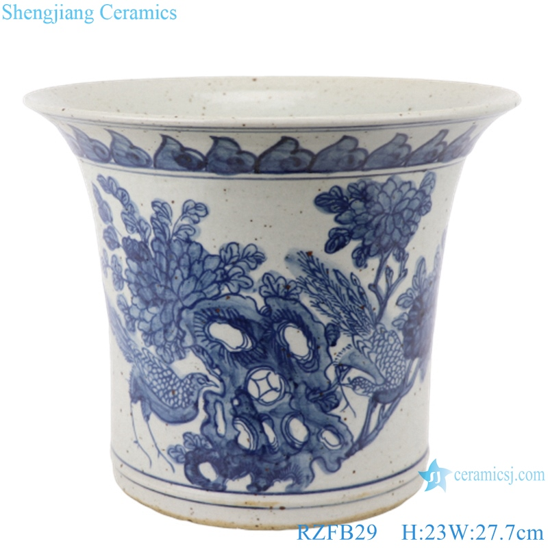 RZFB29 Ceramic Blue and White hand printed porcelain flower platers