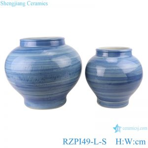 RZPI49-L-S Chinese handmade ceramic blue striped pots set