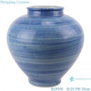 RZPI50 Chinese handmade porcelain blue striped pots storage jars