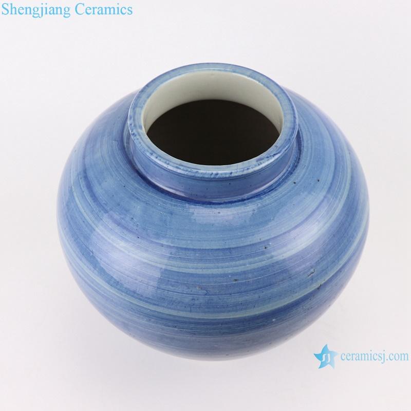 RZPI50 Chinese handmade porcelain blue striped pots storage jars
