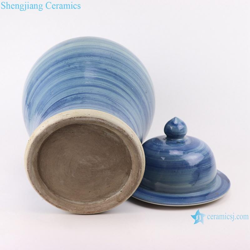 RZPI51 Chinese handmade porcelain blue striped pots ginger jar