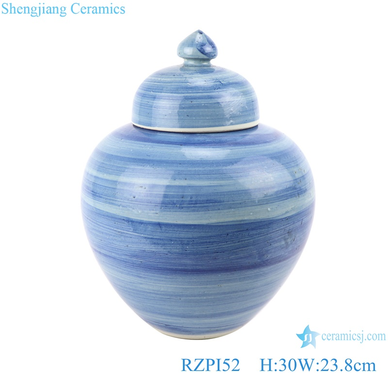 RZPI52 Chinese handmade porcelain blue striped pots storage jar with lid