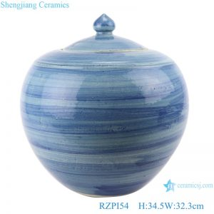 RZPI54 Jingdezhen handmade porcelain blue striped storage pots decoration