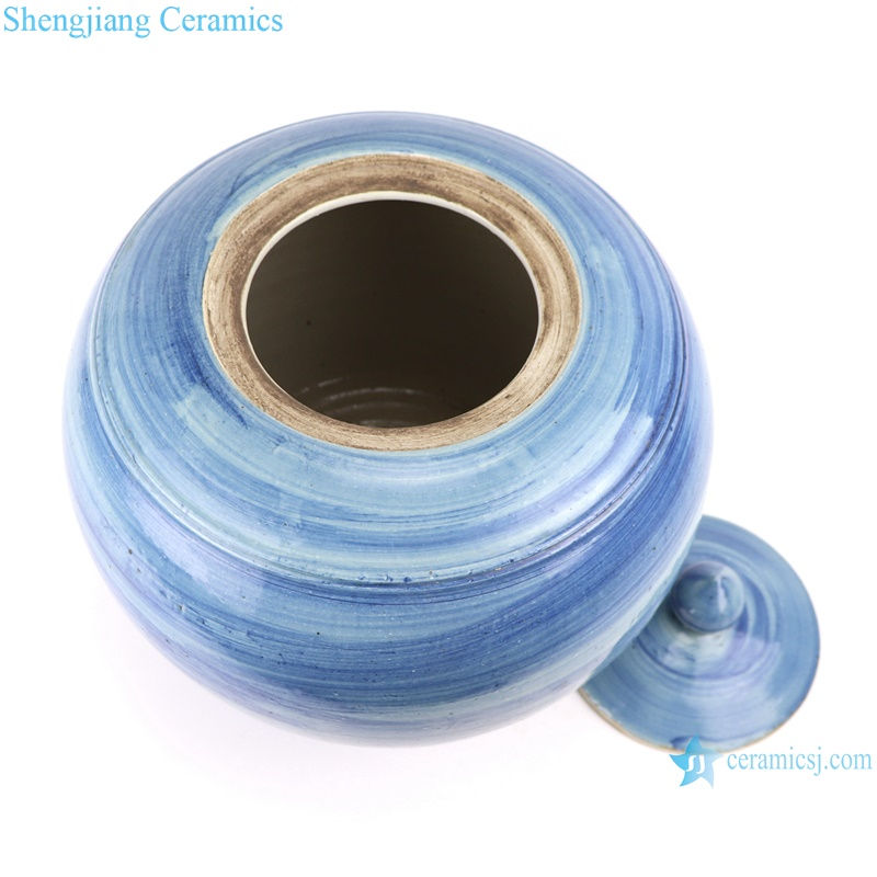 RZPI54 Jingdezhen handmade porcelain blue striped storage pots decoration