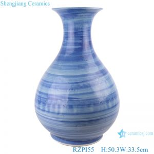 RZPI55 Jingdezhen handmade ceramic blue striped vase decoration