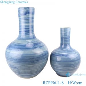 RZPI56-L-S Jingdezhen handmade ceramic blue striped vase sets decoration