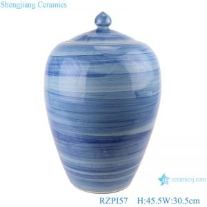 RZPI57 Jingdezhen handmade ceramic blue striped pot decoration storage jars