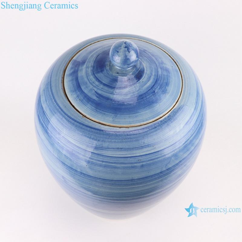 RZPI57 Jingdezhen handmade ceramic blue striped pot decoration storage jars
