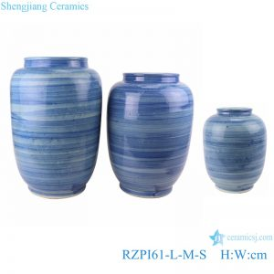RZPI61 Jingdezhen handmade porcelain blue striped design decorative jar set storage pots
