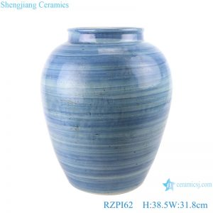 RZPI62 Jingdezhen handmade ceramic blue striped design decorative jar storage pots