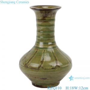RZQJ10 Ceramic hand made green color glazed vase