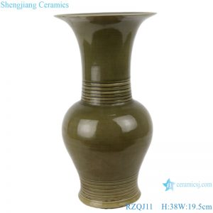 RZQJ11 Chinese pure hand made green glaze ceramic vase home decor