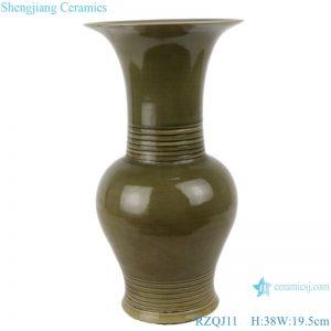 RZQJ11 Chinese pure hand made green glaze ceramic vase home decor