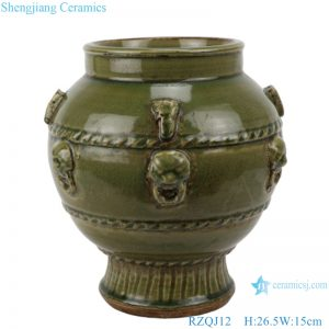 RZQJ12 Chinese old style hand made green glazed ceramic pot
